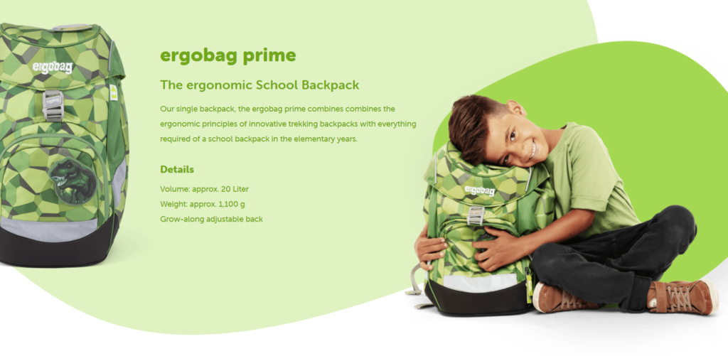 Ergobag Prime School Backpack is designed for primary school children over 6 years old (Height 110-150cm). The idea comes from the professional mountaineering bag, making Ergobag becomes the most ergonomic children school bag in the world.