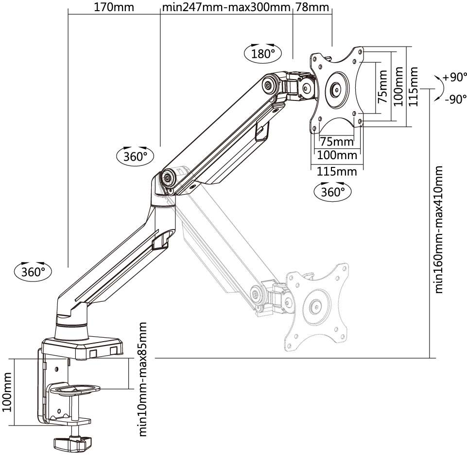 LDT 14 monitor arm specification
